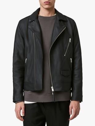 AllSaints Bloc Leather Biker Jacket, Black