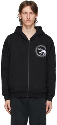 Random Identities Black Embroidered Zip-Up Hoodie