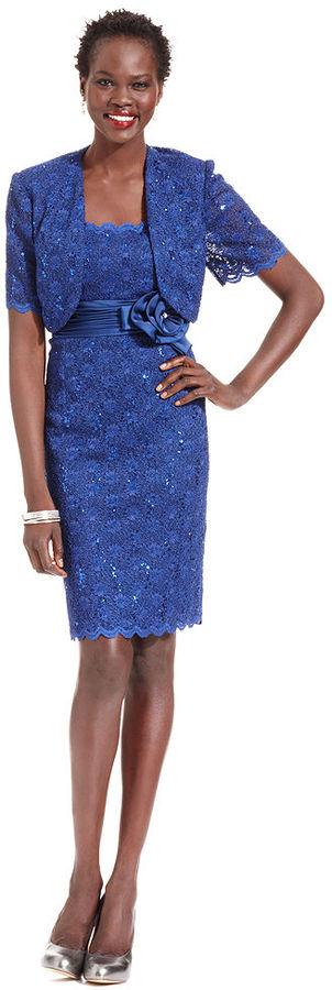 R & M Richards R&M Richards Petite Dress and Jacket, Sleeveless Sequin Lace Sheath