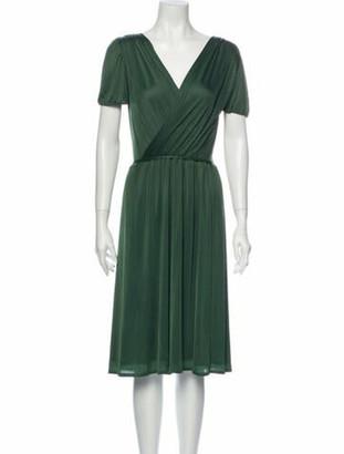 Gucci V-Neck Knee-Length Dress Green