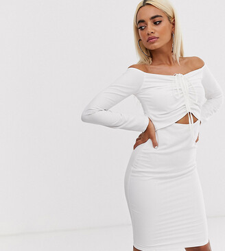John Zack Petite long sleeve cut out midi dress with ruching in white