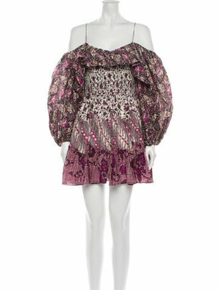 Ulla Johnson Floral Print Mini Dress Purple