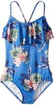 Seafolly Retro Tropic Ruffle Tank One-Piece Girl's Swimsuits One Piece