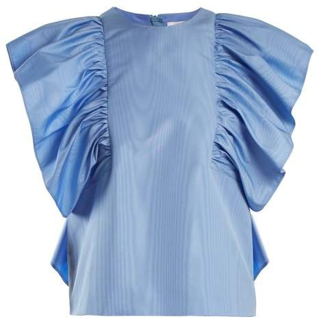 MSGM Ruffled Sleeve Moire Top - Womens - Blue