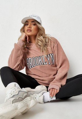 Missguided Pink Brushed Back Brooklyn Graphic Fleece Borg Hoodie