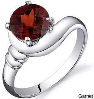 Oravo Sterling Silver Round Gemstone Solitaire Ring