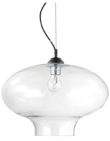 IdealLux Ideal Lux - Round Bistro Glass Pendant Light - Glass/Black