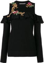 Alberta Ferretti embroidered cutout shoulder sweater