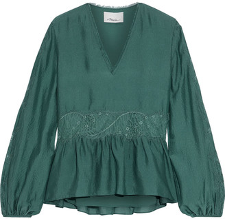 3.1 Phillip Lim Chantilly Lace-trimmed Crinkled Silk Blouse