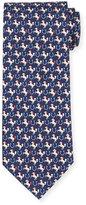 Salvatore Ferragamo Horse & Horseshoe-Print Silk Tie, Blue