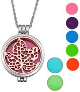 SG Alloy Essential Oils Aromatherapy Diffuser Necklace Babysbreath Locket Pendant,Silver Tone+Antique rose copper
