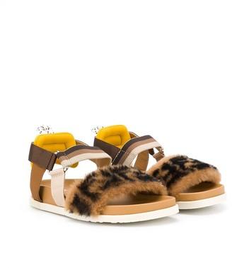 Fendi Kids FF shearling sandals