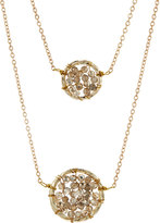 Panacea Double-Strand Crystal Circle Pendant Necklace, Gold