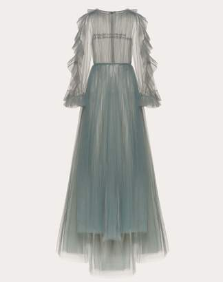 Valentino Tulle Evening Dress With Poetry Detailing Women Light Blue 100% Poliammide 40