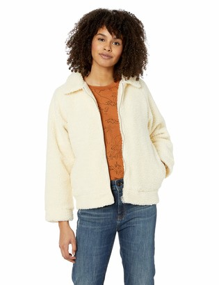RVCA Junior's TED Sherpa Zip Through Fleece Jacket