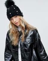 Miss Selfridge Exclusive Pearl Embellished Beanie Hat