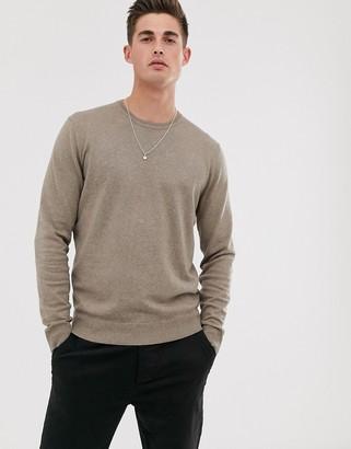 Esprit crew neck jumper cotton cashmere in taupe-Tan