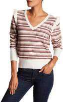 Joie V-Neck Long Sleeve Striped Wool Blend Sweater