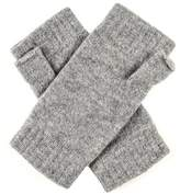 Black Ladies Light Grey Fingerless Cashmere Mittens