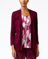 Alfred Dunner Petite Sierra Madre Fringe-Trim Layered-Look Top