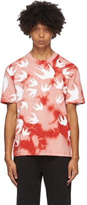 McQ Pink and Red Tie-Dye Swallows T-Shirt