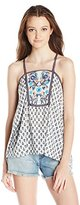 Jolt Women's Printed Front Knit Back Tank with Floral Embroidery