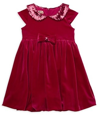 Purple Rose Little Girl's Peter Pan Collar Sequin-Embellished Dress