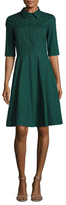 Oscar de la Renta Cotton Solid A-Line Shirtdress