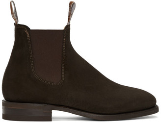 R.M. Williams Brown Suede Comfort Craftsman Chelsea Boots