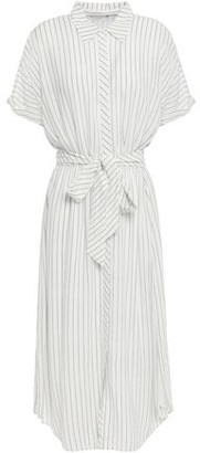 Joie Chellie Tie-front Striped Crepe De Chine Midi Shirt Dress