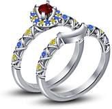 TVS-JEWELS 1.34ct Multi-Color Cz Disney Princess Belle Lovely Bridal Ring Set For Wedding (6.5)
