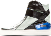 Raf Simons Silver & Blue High-Top Sneakers