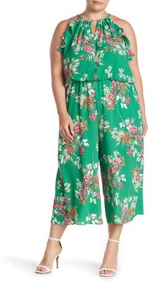 London Times Floral Ruffled Keyhole Crepe Jumpsuit (Plus Size)