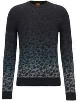 HUGO BOSS Kapard Regular Fit, Leopard-Print Cotton Sweater L Grey