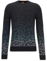 HUGO BOSS Kapard Regular Fit, Leopard-Print Cotton Sweater M Grey