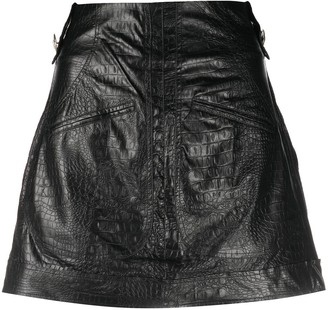 Amen Croc-Effect Mini Skirt