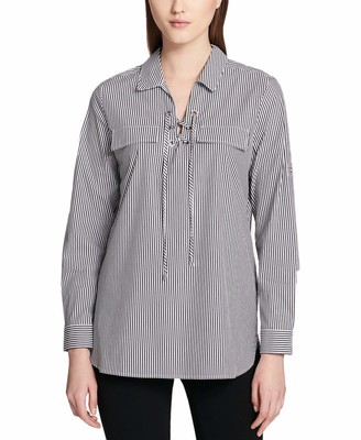 Calvin Klein Women's Striped Lace Up Top