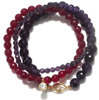 Satya Jewelry Amethyst & Fuchsia Agate Gold Evil Eye Stretch Bracelet Set
