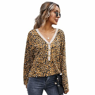 Guangruiorrty V-neck leopard print top with gray M