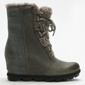 Sorel Joan Of Arctic Shearling Quarry Leather Wedge Boots