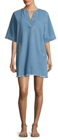 Paul & Joe Sister Cleante Fringe Trimmed Shift Denim Dress