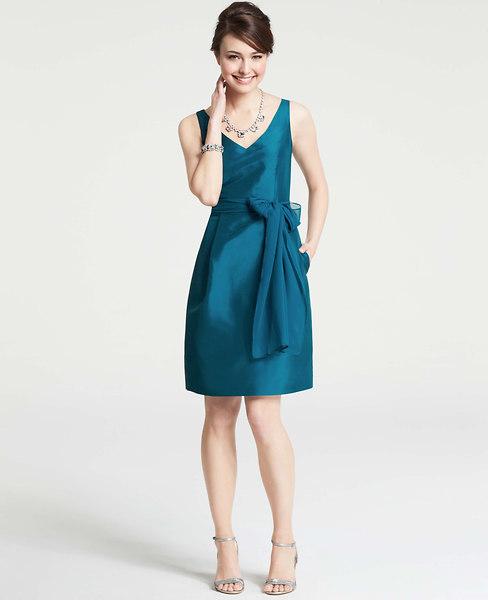 Ann Taylor Silk Dupioni V-Neck Dress