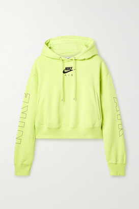 Nike Air Neon Printed Cotton-blend Jersey Hoodie - Yellow
