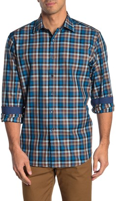Bugatchi Check Print Classic Fit Woven Sport Shirt