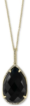 "Effy Onyx (22 x 15mm) & Diamond (1/8 ct. t.w.) 18"" Pendant Necklace in 14k Gold"