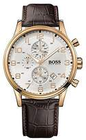 HUGO BOSS Men's 1512519 Brown Leather Analog Quartz Watch with Dial