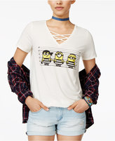 Hybrid Despicable Me Juniors' Minions Lineup Crisscross-Strap Graphic T-Shirt