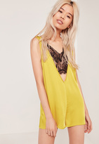 Missguided Silky Lace Insert Playsuit Chartreuse Green
