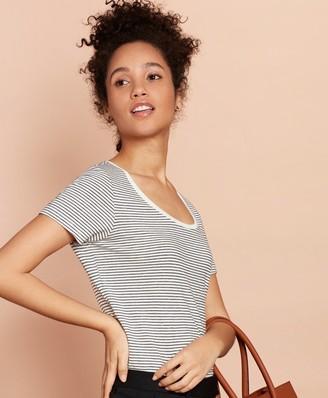 Brooks Brothers Striped Linen-Blend Scoop-Neck T-Shirt