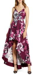 Speechless Lace Back Floral Print High/Low Dress